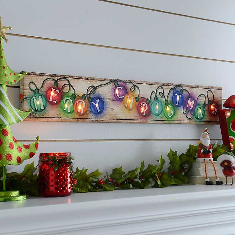 Merry Christmas Lights LED Canvas Art Print | Kirklands
