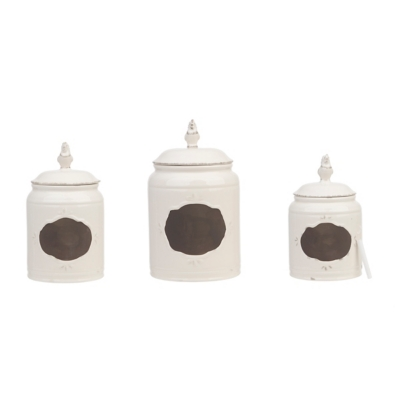 Cream Rooster Canisters, Set of 3
