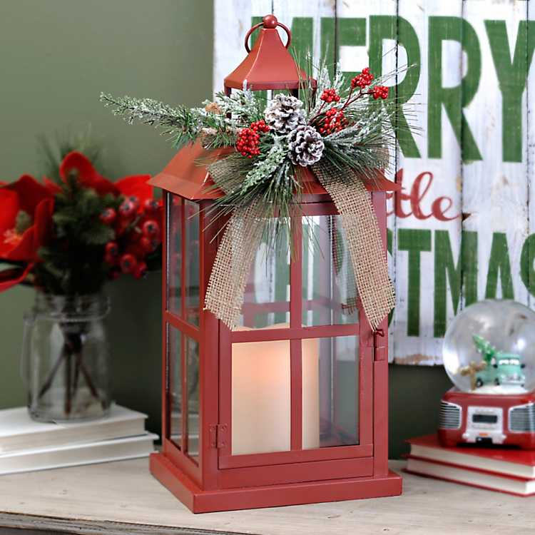 Kirklands Christmas.Christmas Red Floral Led Lantern