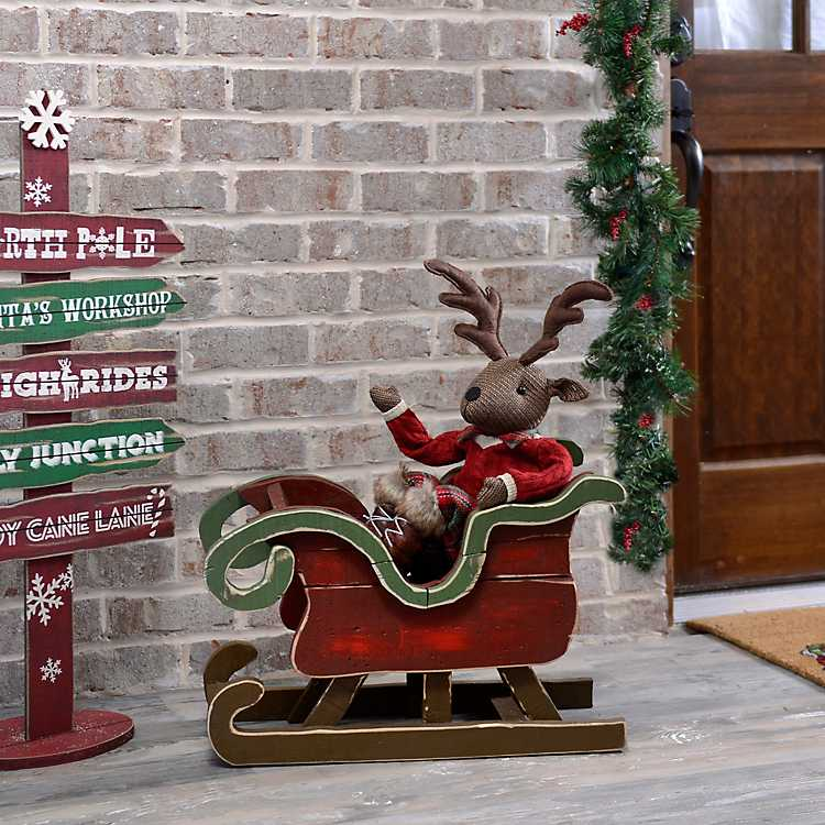 christmas wood sleigh - Wooden Sled Decoration Christmas