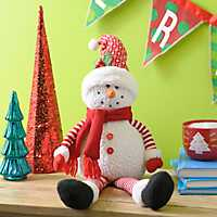 Striped Winter Snowman Shelf Sitter