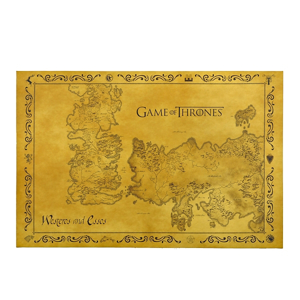 image relating to Printable Map of Westeros identify Match of Thrones Map Canvas Artwork Print Kirklands