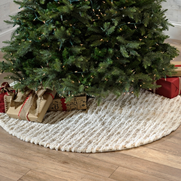White and Gold Faux Fur Tree Skirt | Kirklands