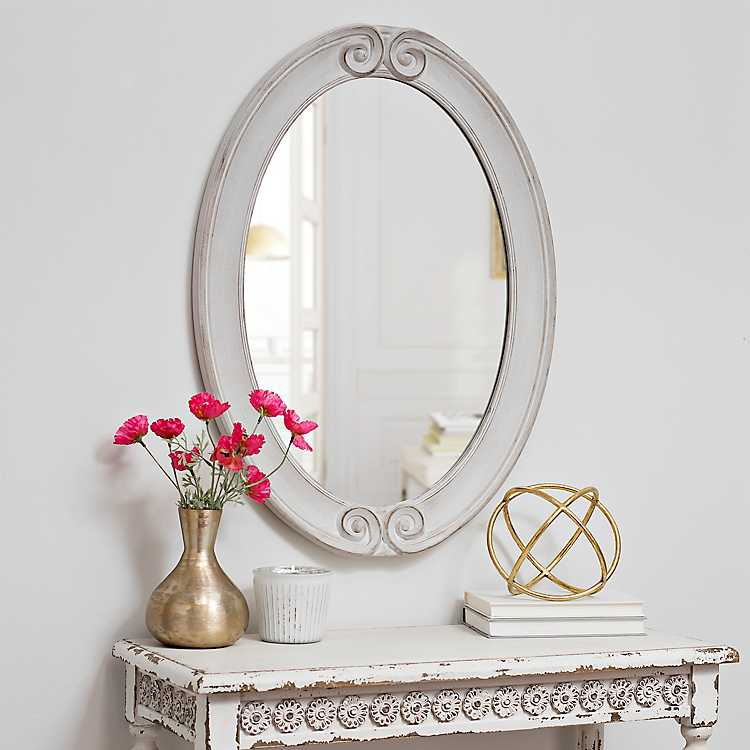 Distressed White Scroll Framed Mirror
