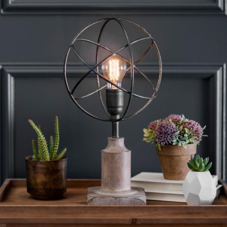 Metal sphere edison bulb table lamp kirklands greentooth Gallery