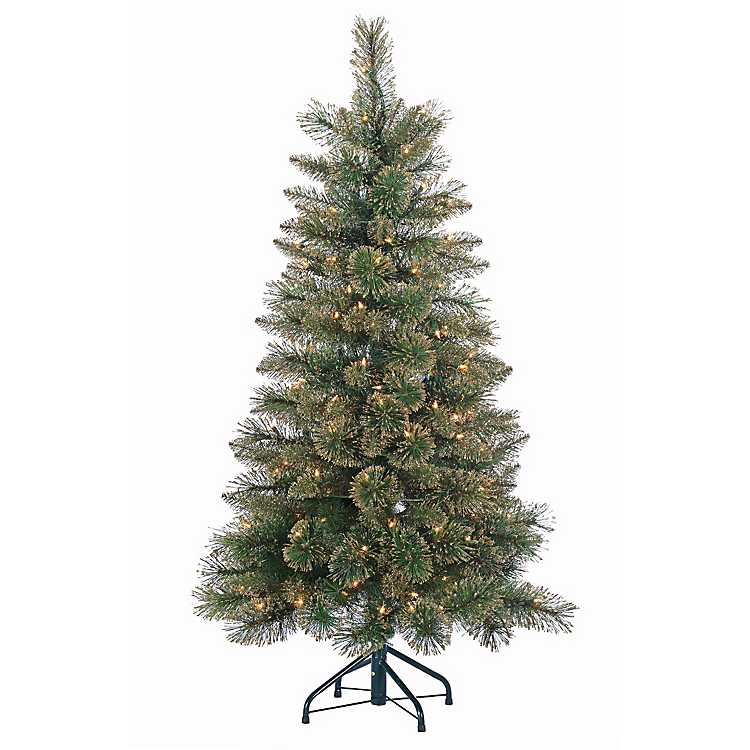 Gold Glitter Cashmere Pine Christmas Tree ... - 4.5 Ft. Gold Glitter Cashmere Pine Christmas Tree Kirklands