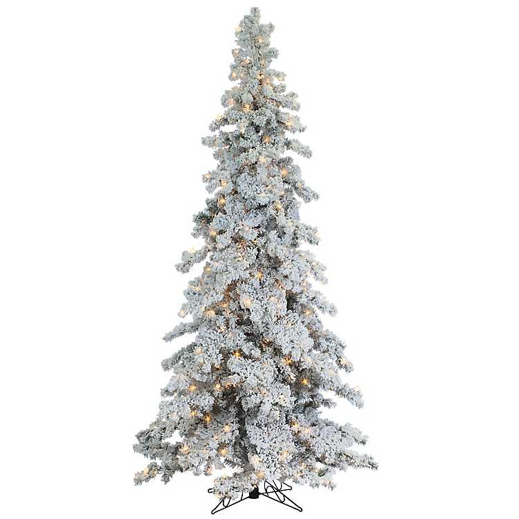 9 ft pre lit flocked spruce christmas tree