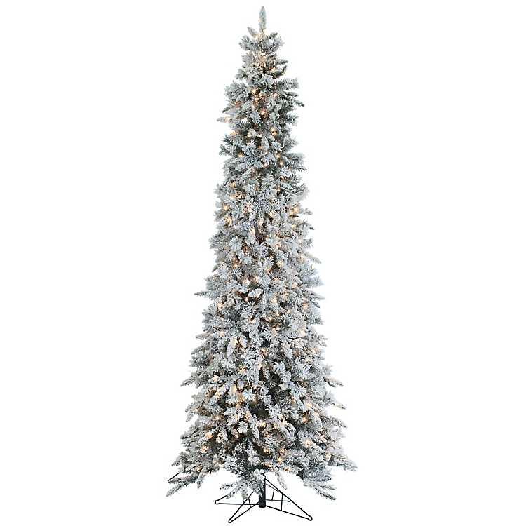 pre lit flocked pencil pine christmas tree - Pre Lit Pencil Christmas Trees