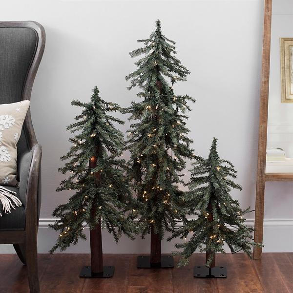 3 Pre Lit Christmas Tree.Pre Lit Alpine Christmas Trees Set Of 3 Kirklands