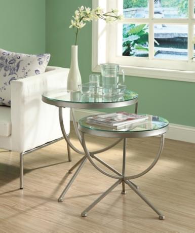 Silver round nesting tables set of 2 kirklands watchthetrailerfo