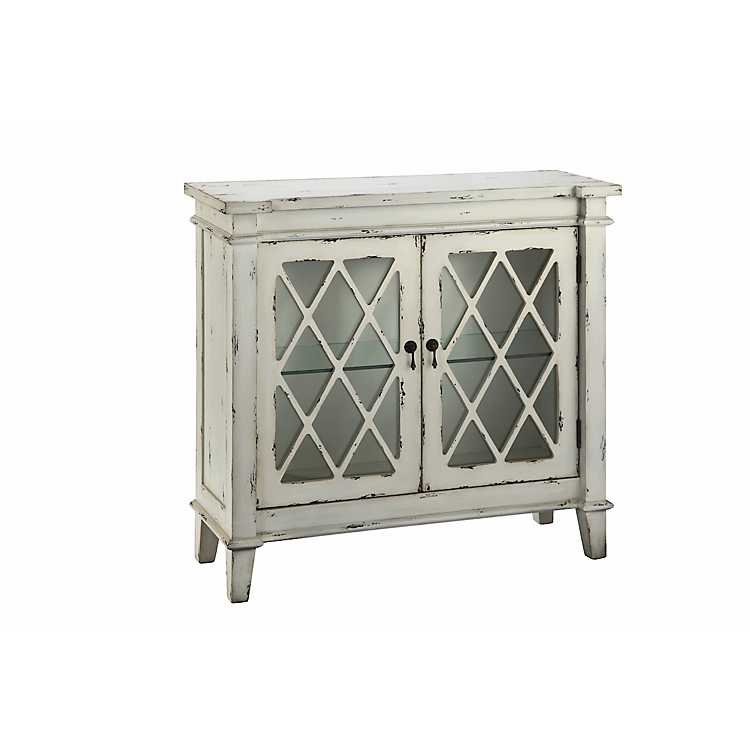 Genial Distressed Off White Glass 2 Door Accent Cabinet ...