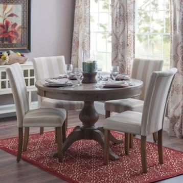 Cream Natural Striped Parsons Chair