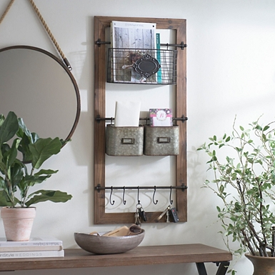 Natural Farmhouse Multi Use Wall Organizer
