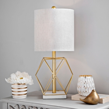 Geometric gold stone base table lamp kirklands mozeypictures Gallery