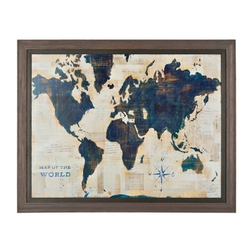 Blue and cream world map framed art print kirklands gumiabroncs Choice Image