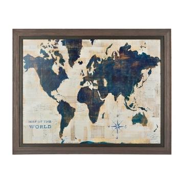 Blue and cream world map framed art print kirklands gumiabroncs Image collections