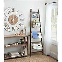 Tapered Wooden Ladder Basket Shelf