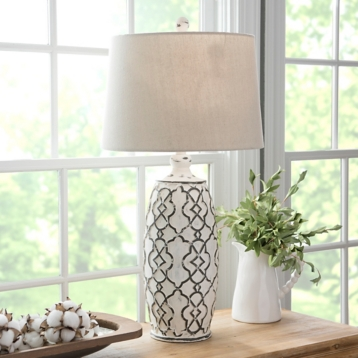 Distressed cream lilly table lamp kirklands aloadofball Image collections