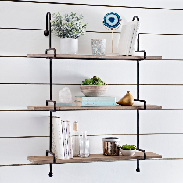 wooden slatpipe shelf kirklands rh kirklands com rot iron wall shelves rot iron wall shelves