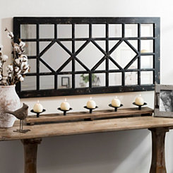 Distressed Black Marquis Decorative Mirror