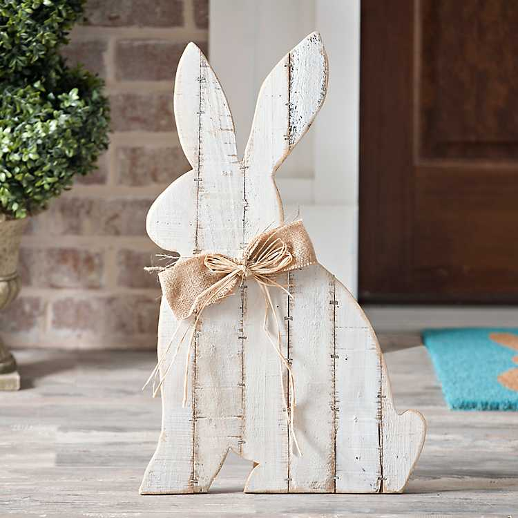 decortive ester ccents easter rabbit decor bunny.htm white barnwood bunny sign kirklands  white barnwood bunny sign kirklands