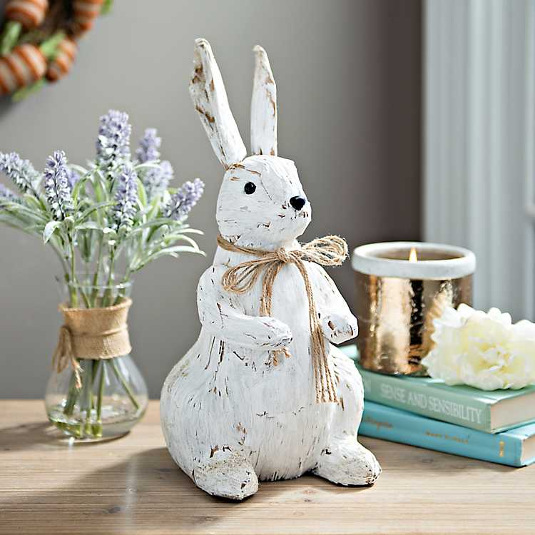 decortive ester ccents easter rabbit decor bunny.htm distressed white veneer bunny statue kirklands  distressed white veneer bunny statue