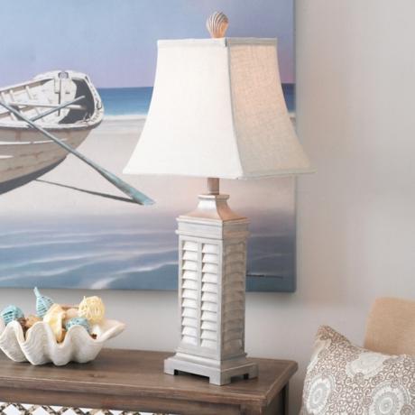 Gray coastal shutter table lamp kirklands aloadofball Images