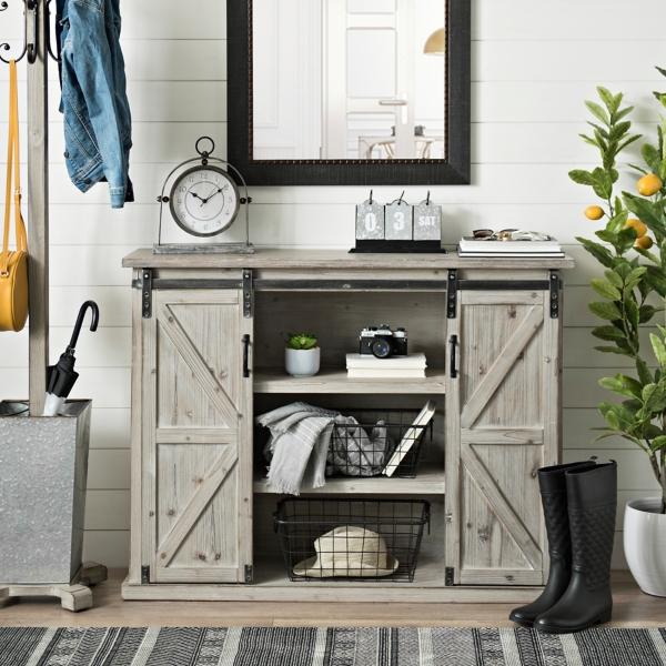 Natural Farmhouse Sliding Door Cabinet