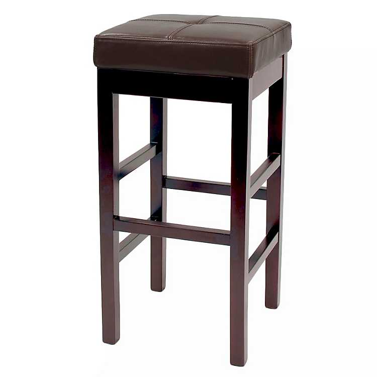 Brown Valencia Backless Leather Bar Stool
