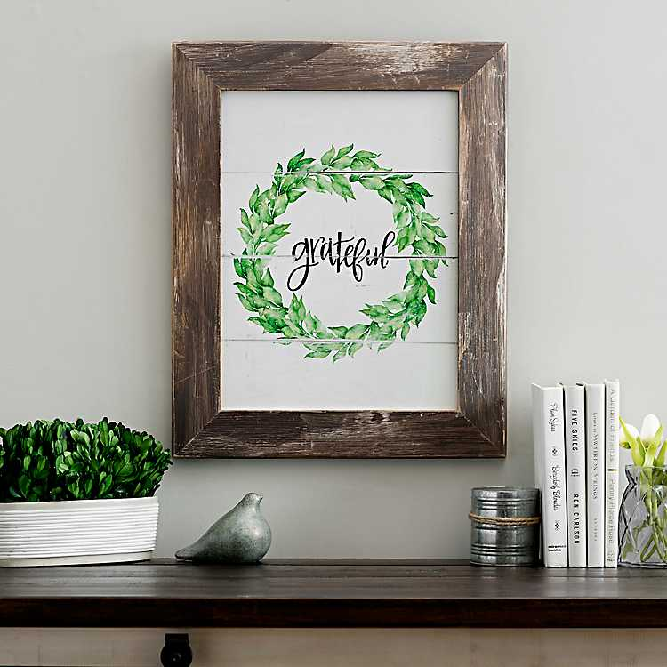 Grateful Wreath Framed Art Print | Kirklands