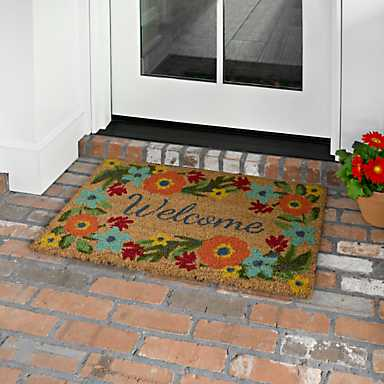 Floral Border Welcome Mat