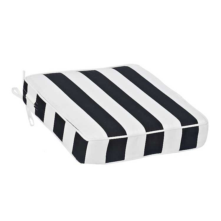 White Stripe Outdoor Chair Cushion