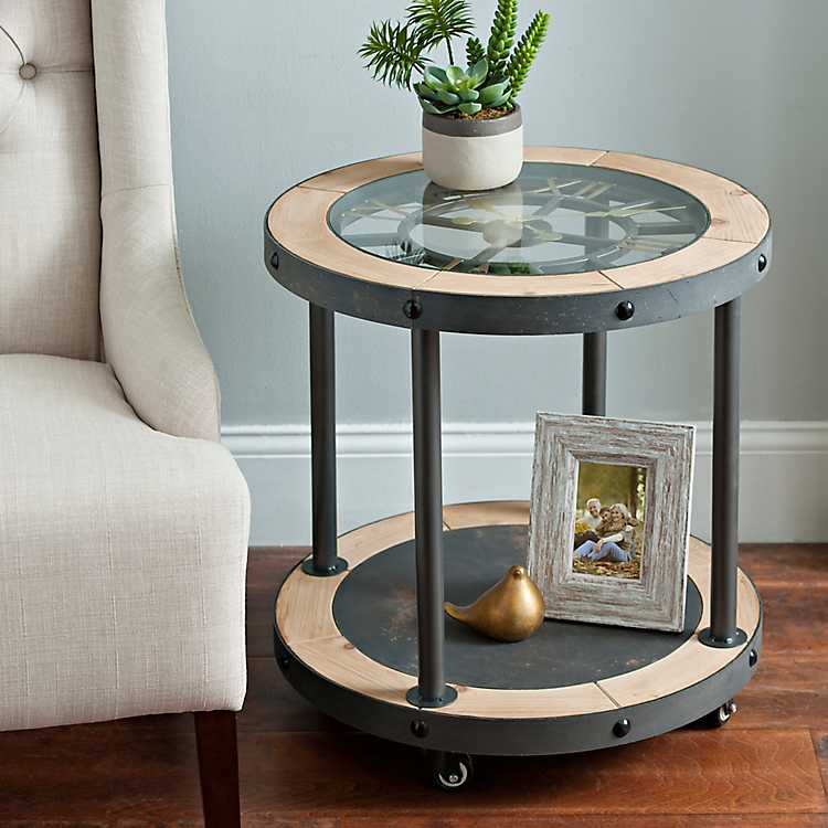 Product Details. Industrial Clock Side Table