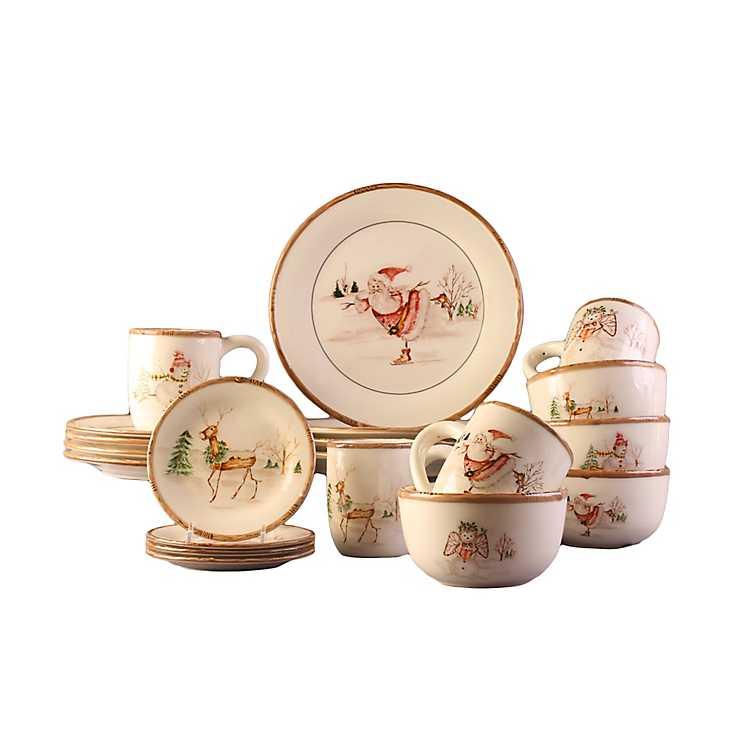 vintage christmas 20 pc dinnerware set