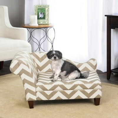 Heather Chevron Chaise Pet Bed, Comfortable Pet Beds