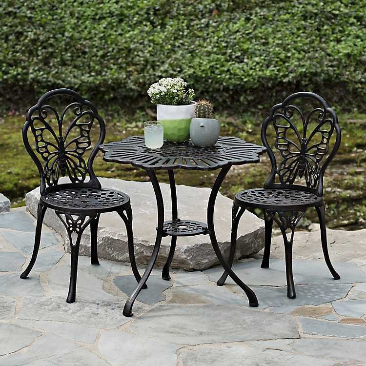 Cast Iron Erfly 3 Pc Bistro Set