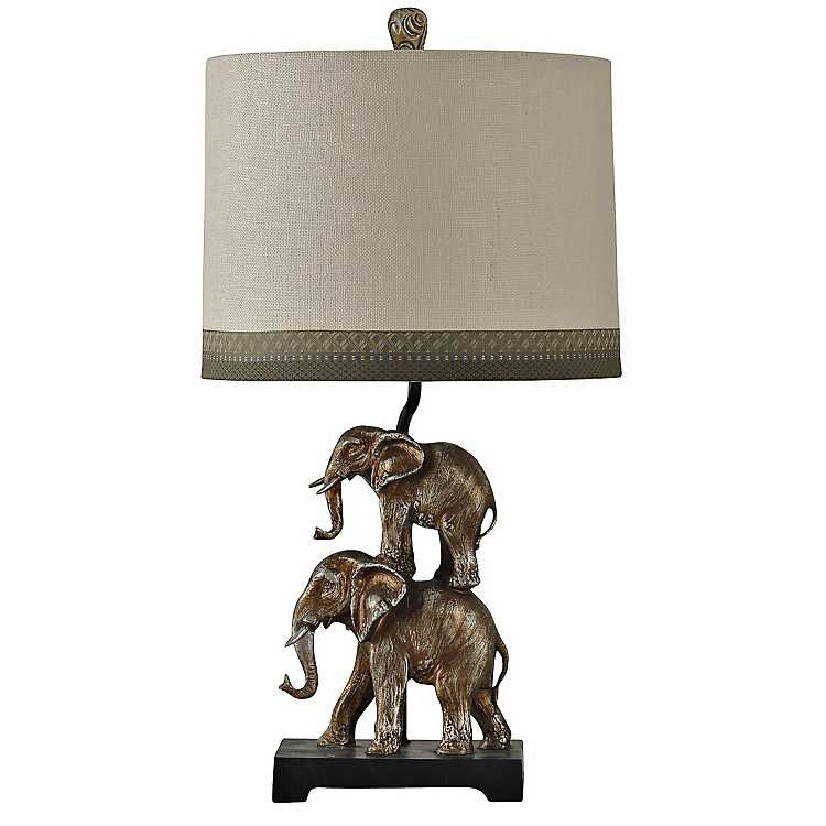 Stacked Silver Elephants Table Lamp ...