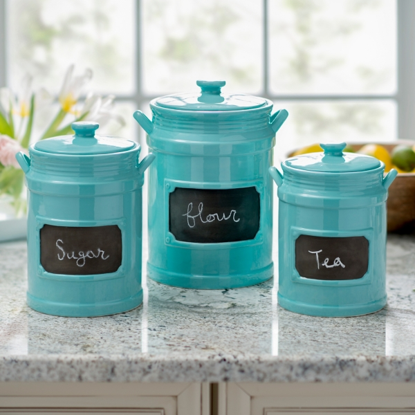 turquoise chalkboard kitchen canisters set of 3 kirklands rh kirklands com Sea Kitchen Canisters turquoise chalkboard kitchen canisters set of 3