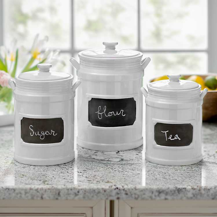 White Chalkboard Kitchen Canisters Set