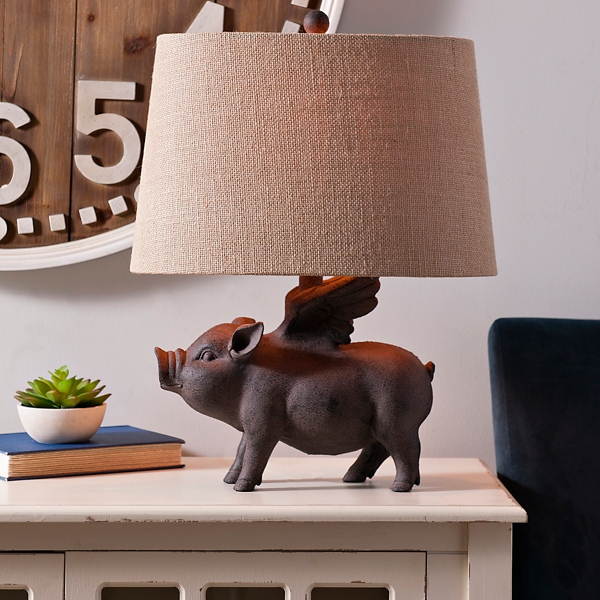 Antique flying pig table lamp kirklands aloadofball Image collections