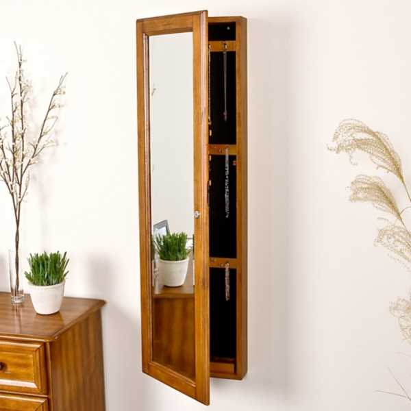Oak Marie Wall Mounted Jewelry Armoire