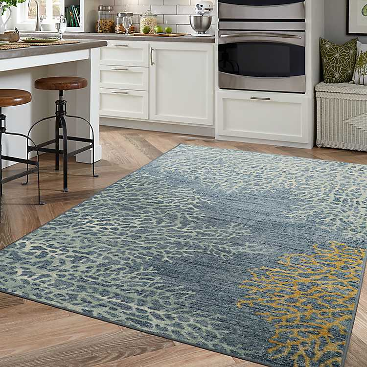 Blue Coral Reef Area Rug 8x10