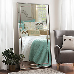 Large Silver Luxe Leaner Mirror 37 2x67 2 In