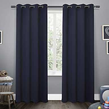 Navy Sateen Kids Curtain Panel Set