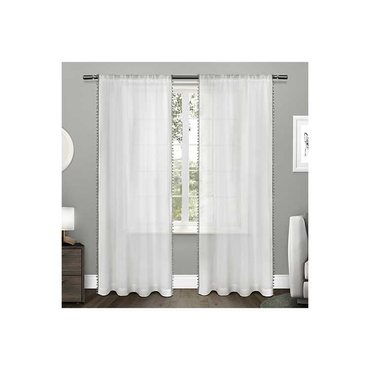 Gray Pom Sheer Curtain Panel Set 96 In