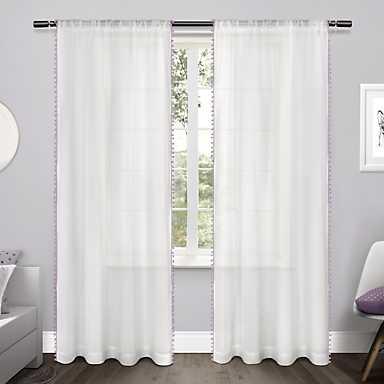 Purple Pom Pom Kids Curtain Panel Set