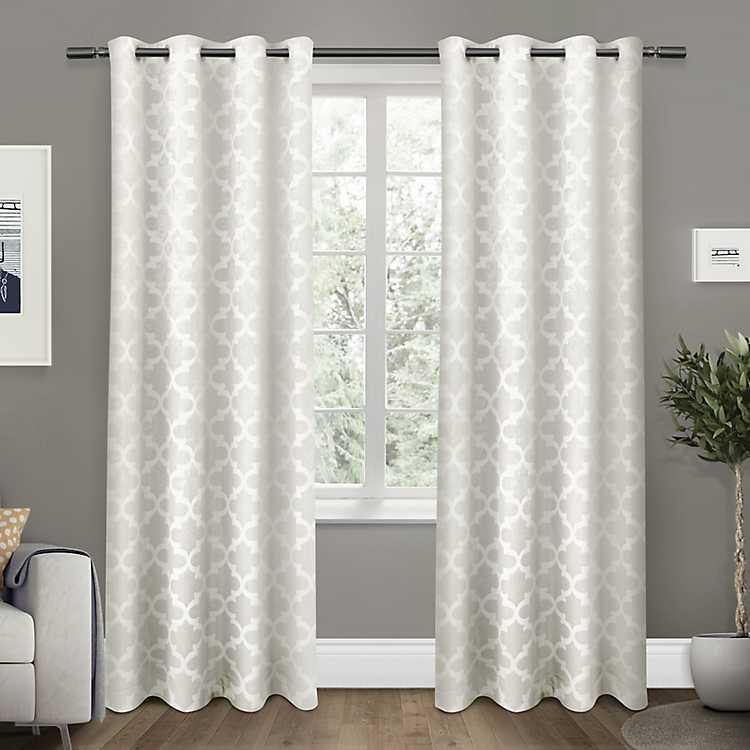 White Cartago Blackout Curtain Panel Set 108 In