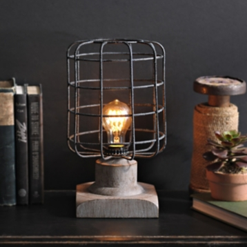 Textured gray caged edison table lamp kirklands aloadofball Image collections