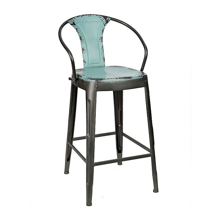 Fine Distressed Blue Industrial Metal Bar Stool Inzonedesignstudio Interior Chair Design Inzonedesignstudiocom