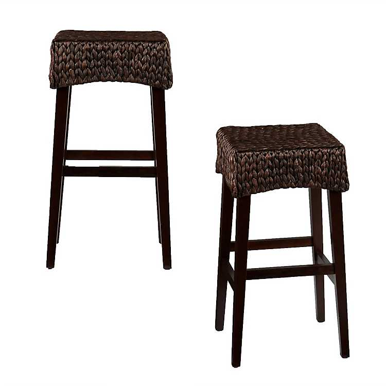 Surprising Woven Water Hyacinth Counter Stools Set Of 2 Forskolin Free Trial Chair Design Images Forskolin Free Trialorg